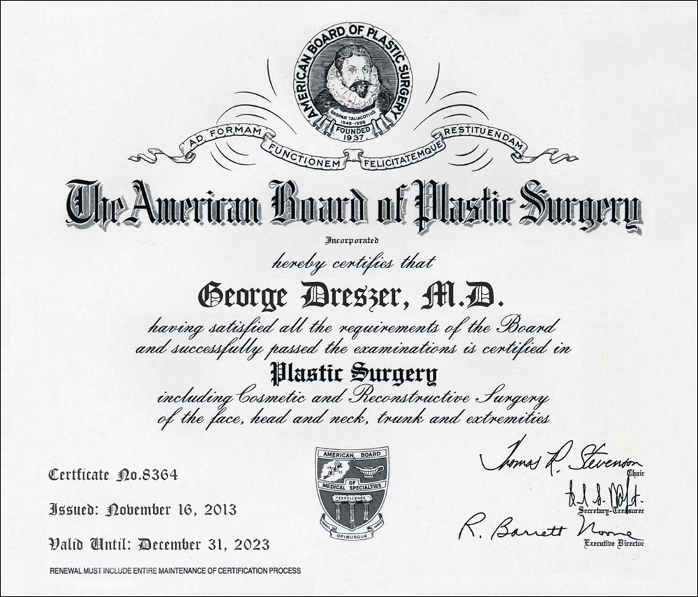 Dr. George Dreszer's diploma from the American Board of Plastic Surgery
