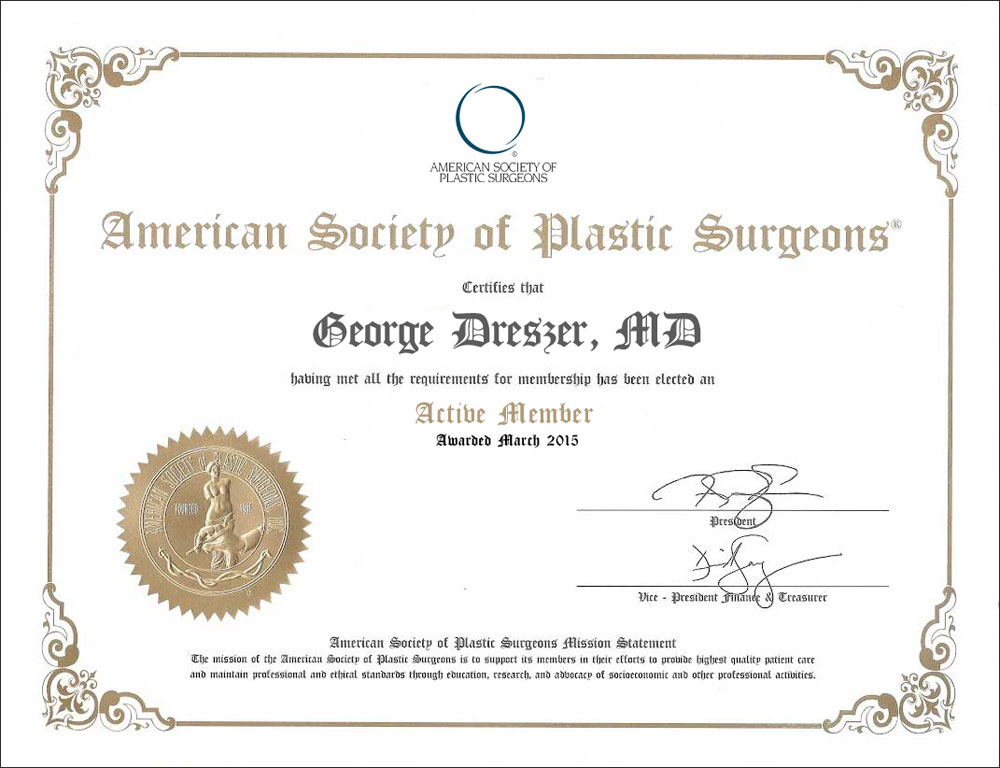 Florida plastic surgeon Dr. George Dreszer's ASPS diploma