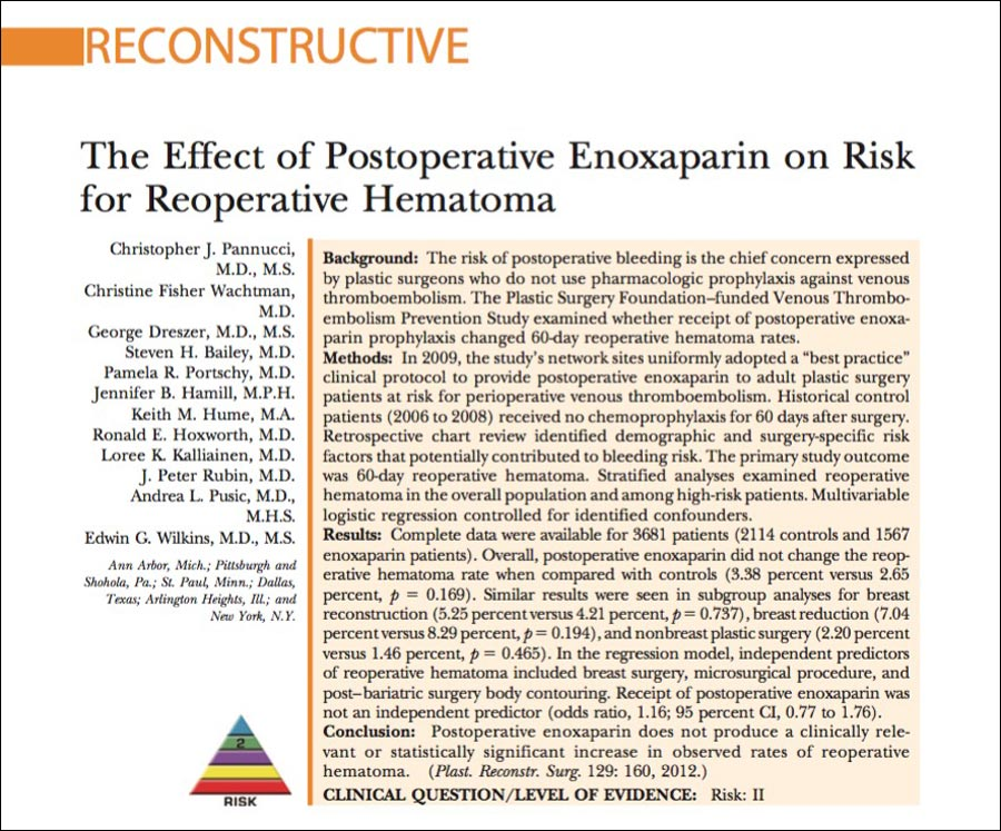cover page on the report on the effects of enoxaparin